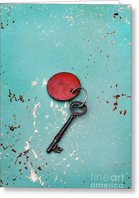 Greeting Card featuring the photograph Vintage Key With Red Tag by Jill Battaglia
