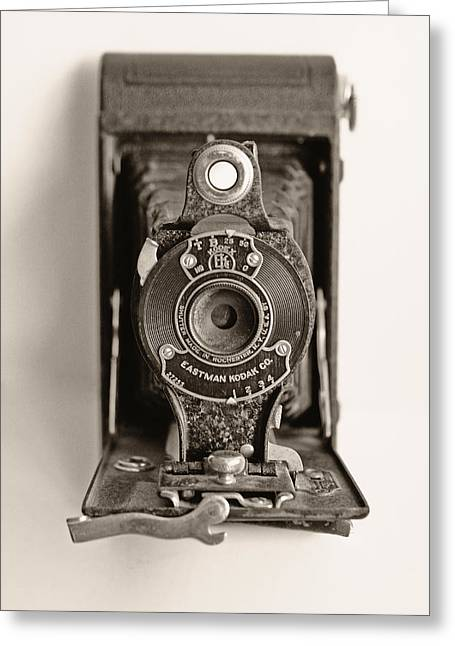 Camera Lens Greeting Cards - Vintage Kodak Camera Greeting Card by Tony Grider
