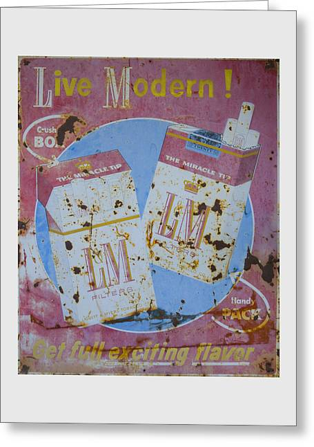 Vintage L And M Cigarette Sign Greeting Card