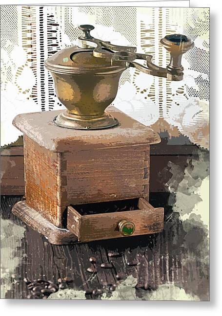 Vintage Lace Curtains And Coffee Grinder Greeting Card