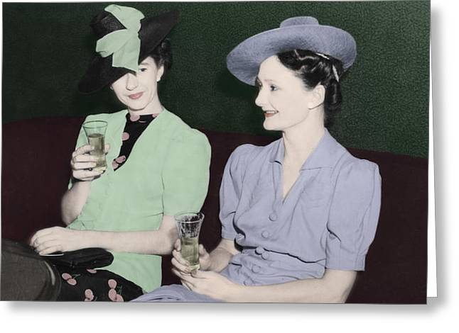 Vintage Ladies Enjoying A Drink Greeting Card by Erin Cadigan