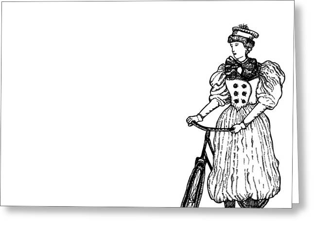 Vintage Lady With Bicycle Greeting Card by Karl Addison