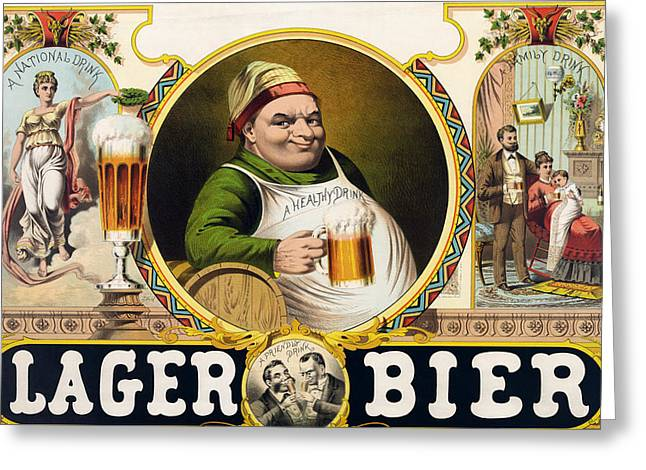 Vintage Lager Beer Advertisement Greeting Card by CartographyAssociates
