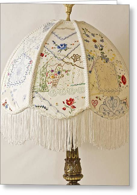 Vintage Lampshade Handstitched Greeting Card by Sandra Foster
