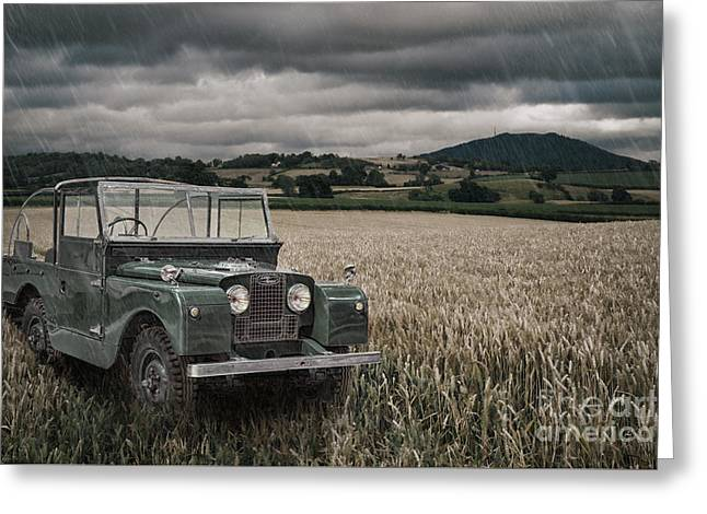 Vintage Land Rover In Field Greeting Card by Amanda Elwell