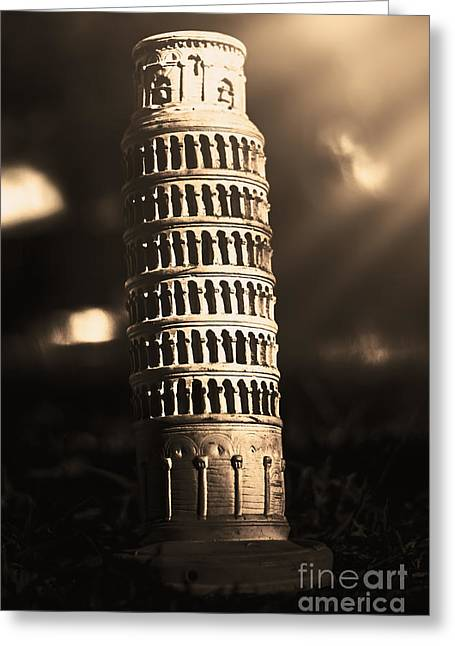 Vintage Leaning Tower Of Pisa Statue  Greeting Card