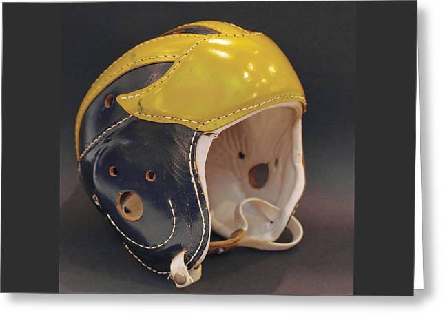 Greeting Card featuring the photograph Vintage Leather Wolverine Helmet by Michigan Helmet