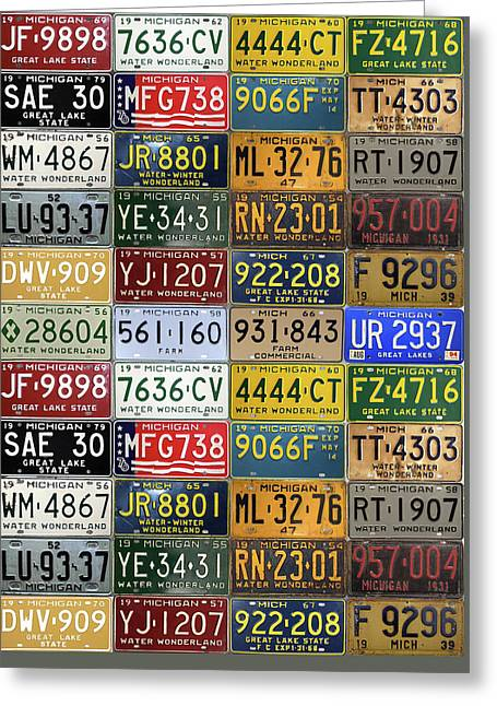 Vintage License Plates From Michigan's Rich Automotive Past Greeting Card by Design Turnpike
