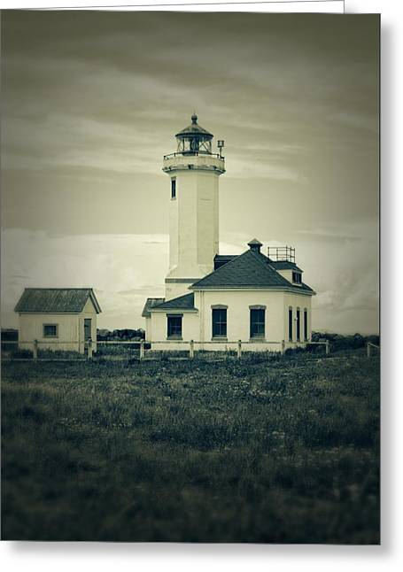 Vintage Lighthouse Monochrome Greeting Card by Dan Sproul