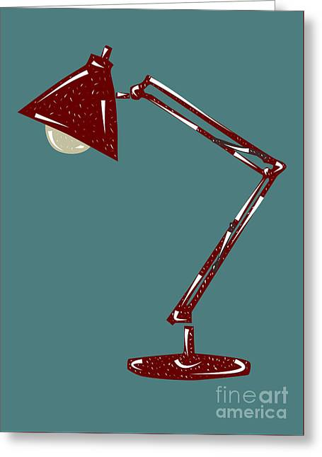 Vintage Linocut Desklamp Greeting Card by Shawn Hempel
