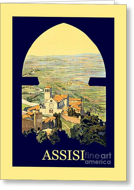 Vintage Litho Travel Ad Assisi Italy Greeting Card