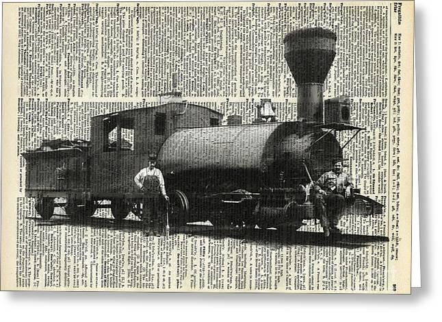 Vintage Locomotive Greeting Card