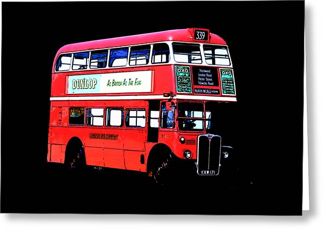 Vintage London Bus Tee Greeting Card by Edward Fielding
