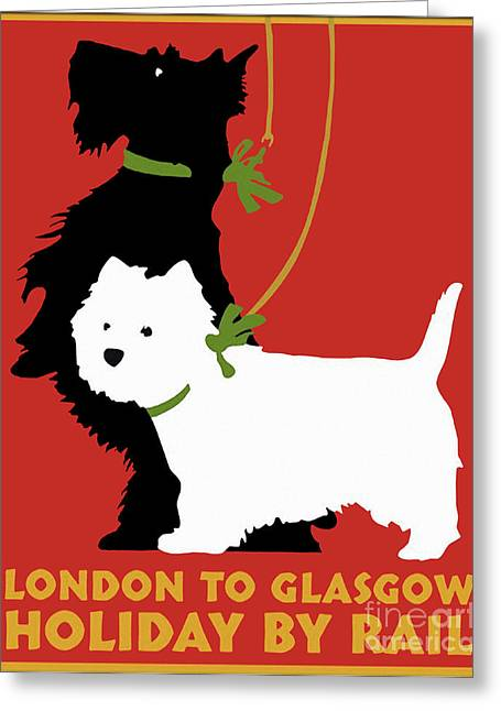 Vintage London To Glasgow By Rail Terrier Dogs Travel Poster Greeting Card