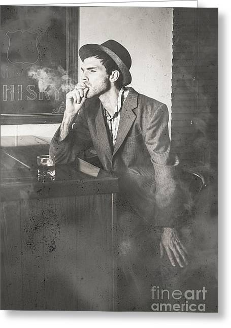 Vintage Man In Hat Smoking Cigarette In Jazz Club Greeting Card by Jorgo Photography - Wall Art Gallery