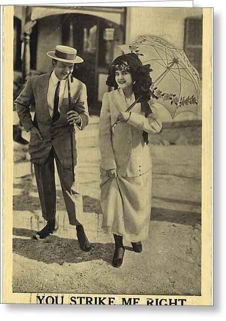 Vintage Man Wearing Boater Hat Greeting Card