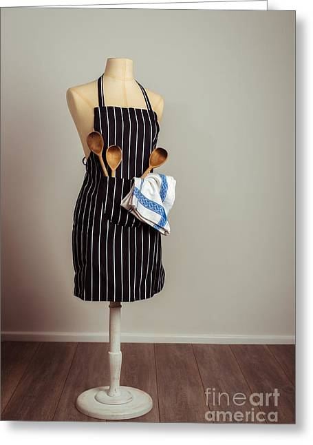 Vintage Mannequin With Kitchen Utensils Greeting Card by Amanda Elwell