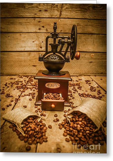 Vintage Manual Grinder And Coffee Beans Greeting Card by Jorgo Photography - Wall Art Gallery