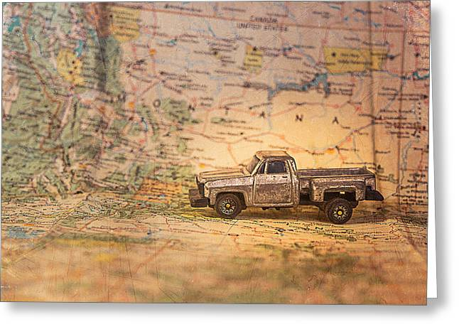 Vintage Map And Truck Greeting Card by Mary Hone
