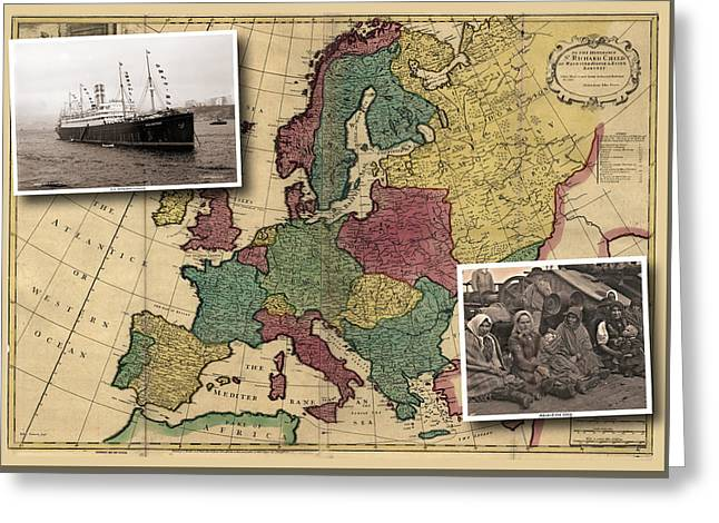 Vintage Map Europe Immigrants Greeting Card