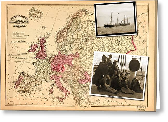 Vintage Map Europe To New York Greeting Card