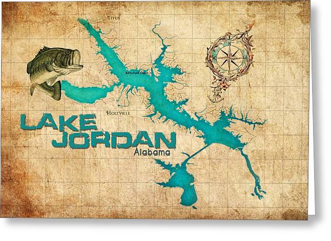 Vintage Map - Lake Jordan Al Greeting Card by Greg Sharpe