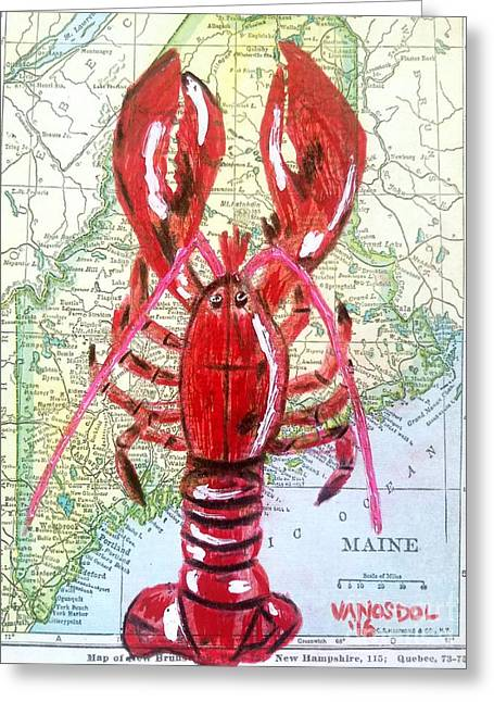 Vintage Map Maine Red Lobster Greeting Card by Scott D Van Osdol