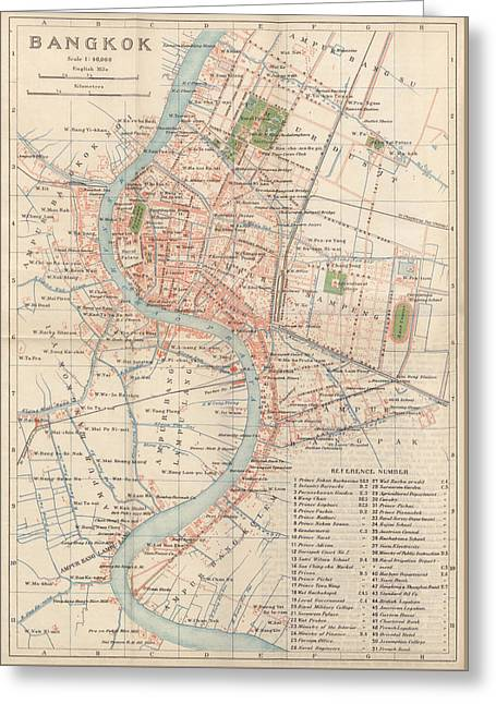 Greeting Card featuring the drawing Vintage Map Of Bangkok, Thailand From 1920 by Blue Monocle