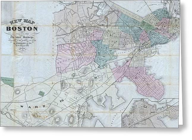 Vintage Map Of Boston Massachusetts - 1870 Greeting Card by CartographyAssociates