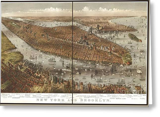 Vintage Map Of Brooklyn And New York Greeting Card by Pd