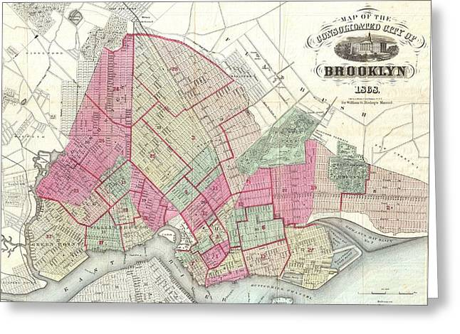 Vintage Map Of Brookyln  Greeting Card by CartographyAssociates