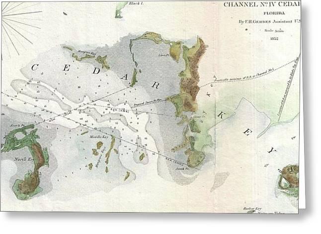 Vintage Map Of Cedar Key Florida - 1852 Greeting Card by CartographyAssociates
