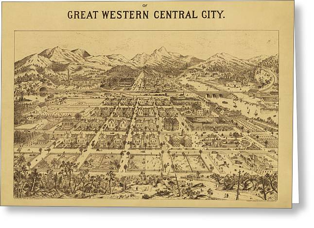 Vintage Map Of Central City Colorado Greeting Card
