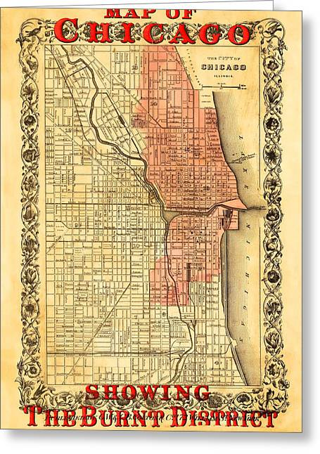 Vintage Map Of Chicago Fire Greeting Card