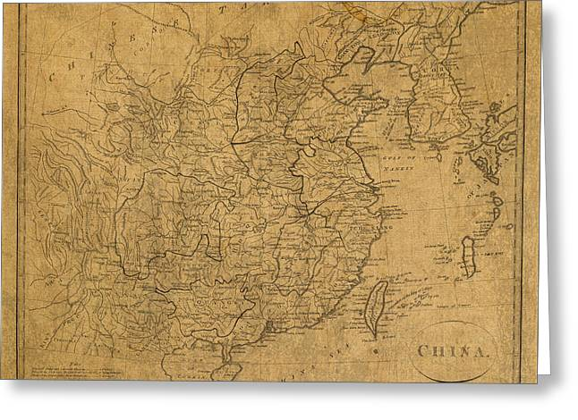 Vintage Map Of China 1799 Greeting Card