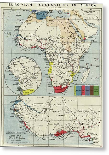 Vintage Map Of European Possessions In Africa Greeting Card by English School