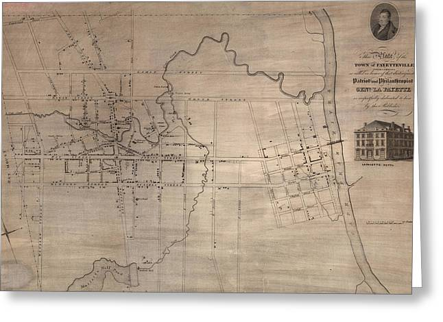 Vintage Map Of Fayetteville North Carolina - 1822 Greeting Card