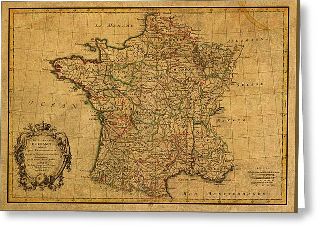 Vintage Map Of France Old Schematic Circa 1771 On Worn Distressed Parchment Greeting Card by Design Turnpike
