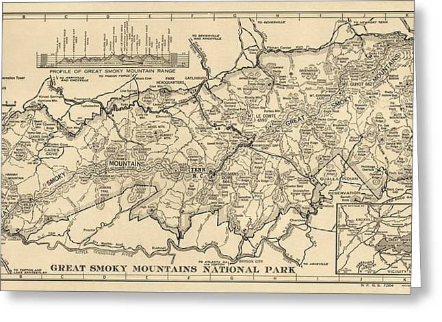Tennessee Drawings Greeting Cards - Vintage Map of Great Smoky Mountains National Park from 1941 Greeting Card by Blue Monocle