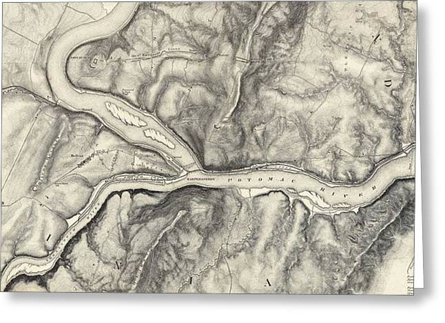Vintage Map Of Harpers Ferry - 1863 Greeting Card by CartographyAssociates