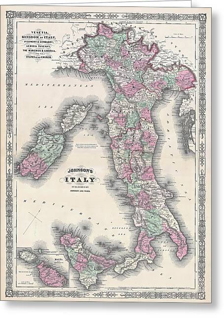Vintage Map Of Italy Greeting Card