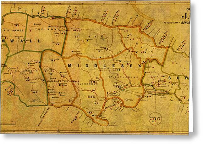 Vintage Map Of Jamaica From 1882 On Worn Parchment Greeting Card by Design Turnpike
