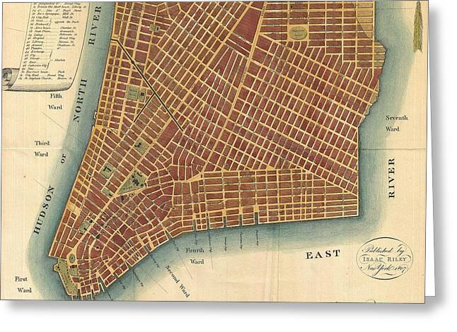 Vintage Map Of Lower New York City - 1807 Greeting Card by CartographyAssociates