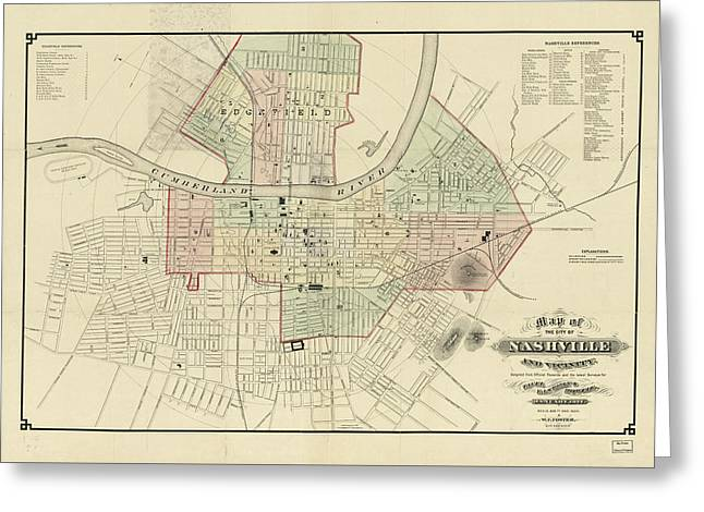 Vintage Map Of Nashville Tennessee - 1877 Greeting Card