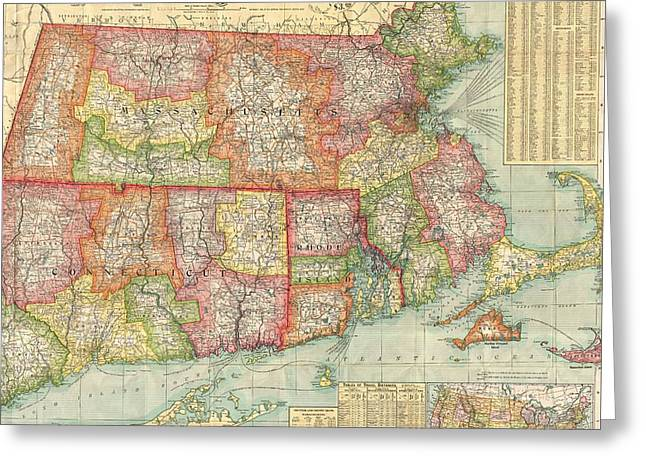 Vintage Map Of New England States  Greeting Card by CartographyAssociates