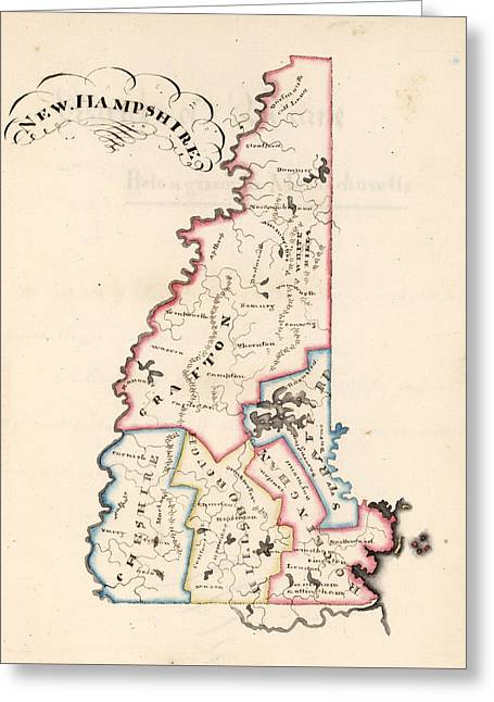 Vintage Map Of New Hampshire - 1819 Greeting Card by CartographyAssociates