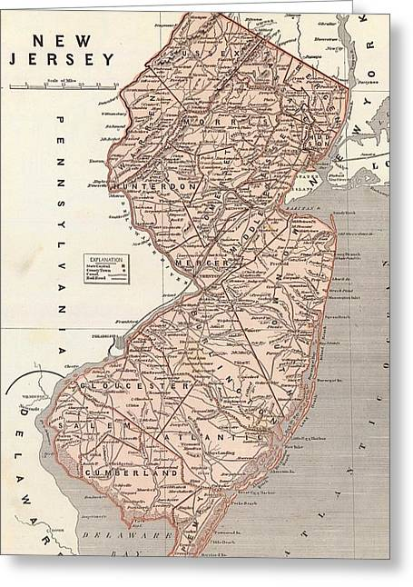 Vintage Map Of New Jersey - 1845 Greeting Card by CartographyAssociates