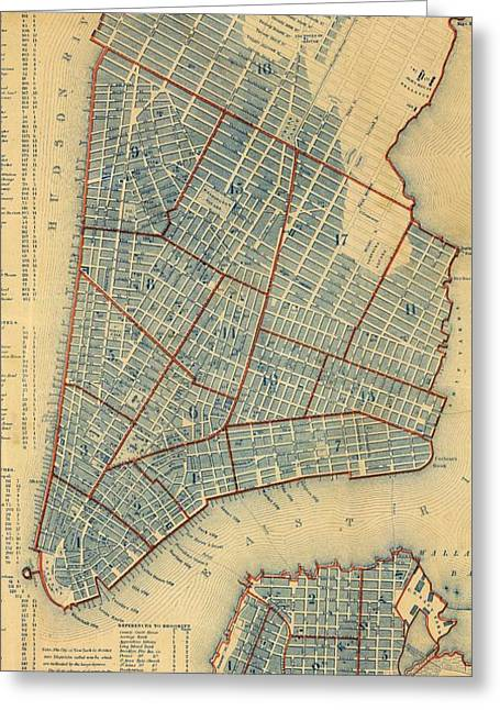Vintage Map Of New York City - 1846 Greeting Card by CartographyAssociates