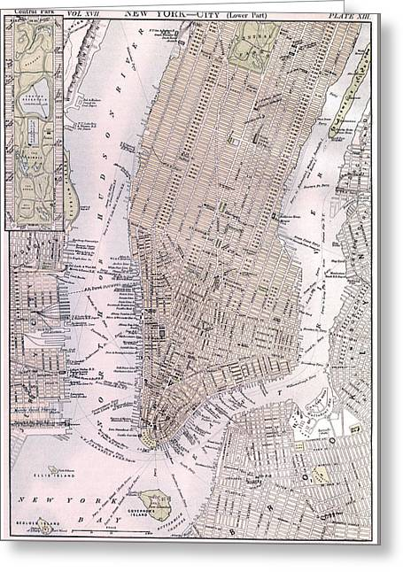 Vintage Map Of New York City - 1884 Greeting Card by CartographyAssociates