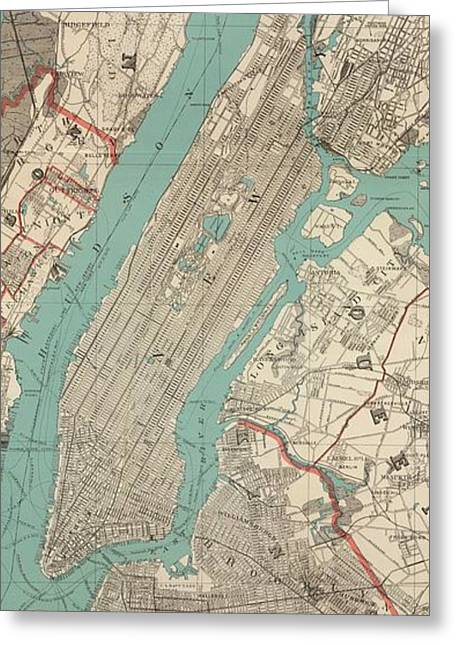 Vintage Map Of New York City - 1890 Greeting Card by CartographyAssociates